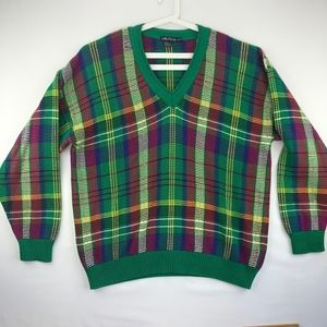 Vintage Nautica Plaid Sweater V-Neck XL 2XL Green